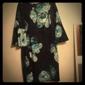 Calvin Klein Black with teal flowers, size 12